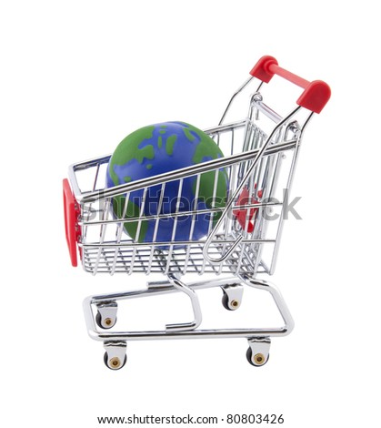 Globe and shopping cart with clipping path