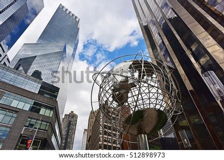 Globe and Skyscrapers at Columbus Circle New York City #512898973
