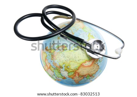 Globe and Stethoscope on White Pages
