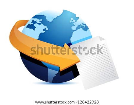 globe arrow and paper illustration design over a white background