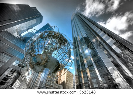 Globe at Columbus Circle - Manhattan - New York - stock photo