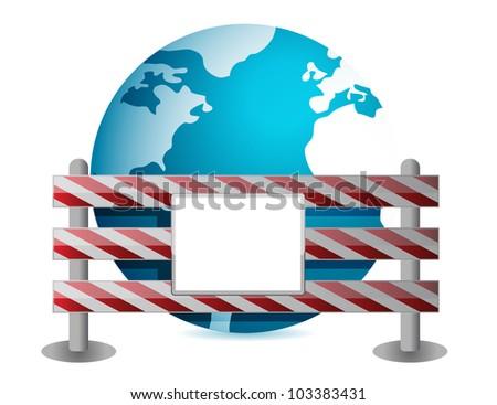 Globe behind a road barrier illustration design