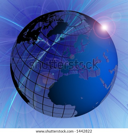 Globe Blue Landmass on Swirl Background with Lens Flare Europe Focus