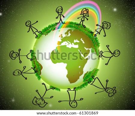 Globe, children, illustration, rainbow - stock photo
