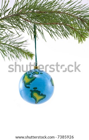 Globe Christmas Ornament showing North and South America