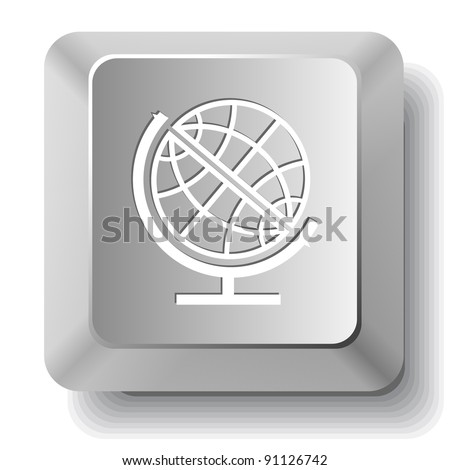 Globe. Computer key. Raster illustration.