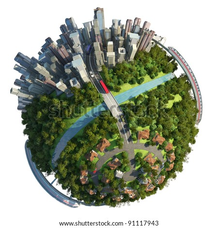 Globe concept for city, suburbs, and commute to work with various transports isolated on white