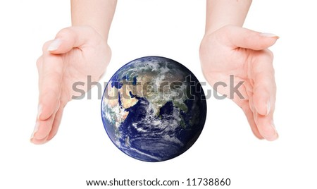 Globe cupped between open hands