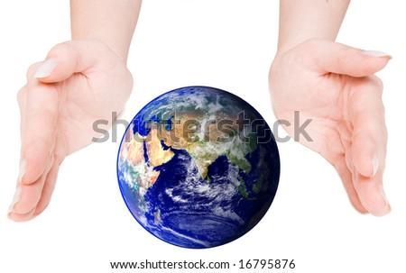 Globe cupped between open hands
