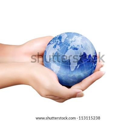 Globe ,earth in human hand