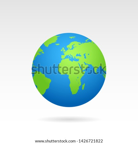 Globe earth map with shadow on white background