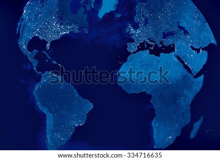 Globe Earth Model by night with city light spots visible. Map of Europe, America, Africa, Europe, Arabia, Asia. Elements of this image furnished by NASA. #334716635