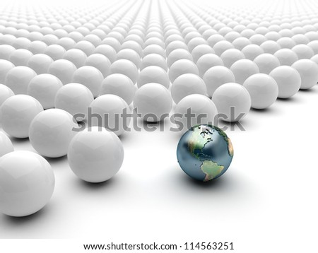 Globe Earth sphere standing out ball, America - stock photo