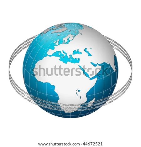 Globe earth with binary code ring, Europe centric