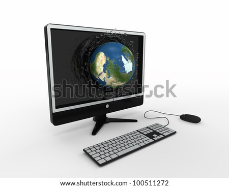 globe falling with splashes into the computer monitor screen. Elements of this image furnished by NASA