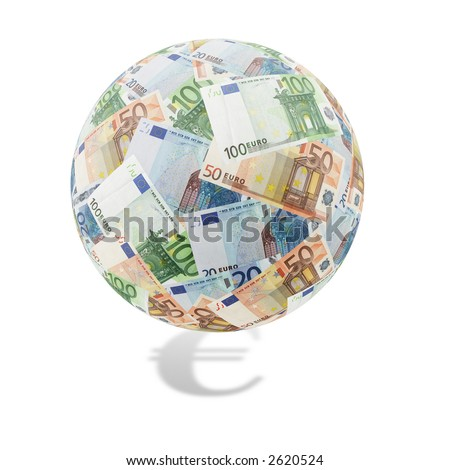 Globe formed of twenty, fifty and one hundred euro bills over white background with euro symbol shadow