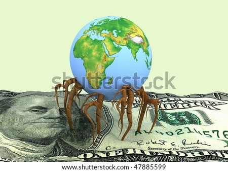 Globe germinated roots in a dollar