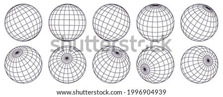 Globe grid spheres. Striped 3D spheres, geometry globe grid, earth latitude and longitude line grid  symbol set. Spherical grid globe shapes. Illustration globe striped, global geography surface