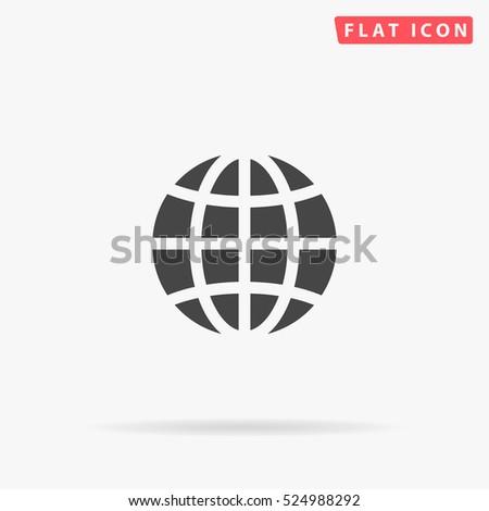 Globe Icon Illustration. Flat simple grey symbol on white background with shadow