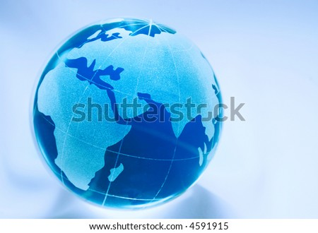 globe in blue showing africa, europe, asia and russia and oceans