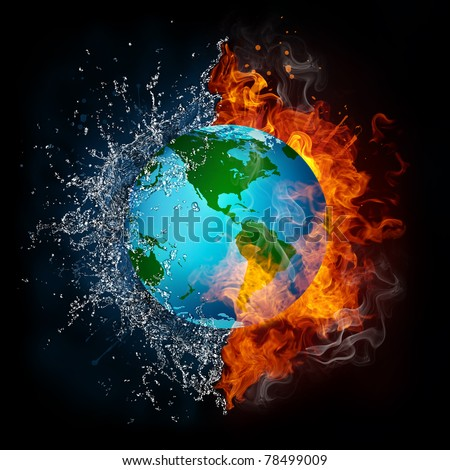 Globe in Flame and Water - stock photo