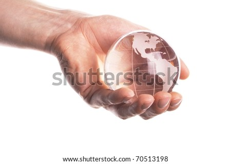 globe in hand isolated on white showing eco environment or business concept
