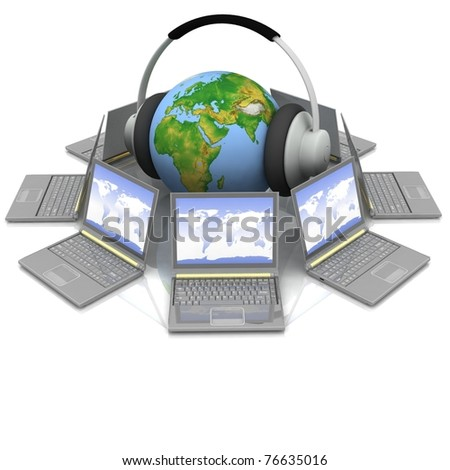globe in headsets in the middle laptops - stock photo