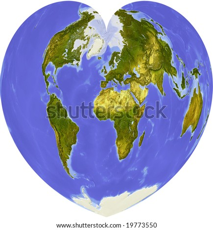 Globe in heart shape, centered on Africa. Shaded relief colored according to dominant vegetation. Shows polar and pack ice, large urban areas. Isolated on white, with clipping path.