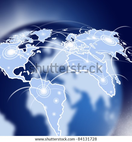 Globe in space with global network