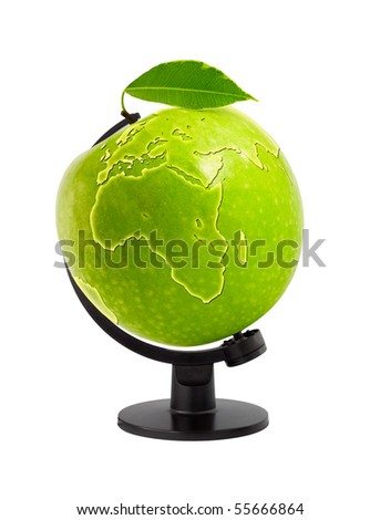 globe in the form of apple (collage made up of several files)