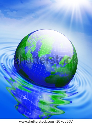 Globe in the water . Conceptual 3D illustration .