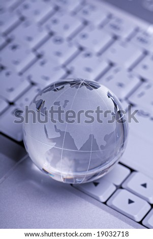 Globe kept on a laptop