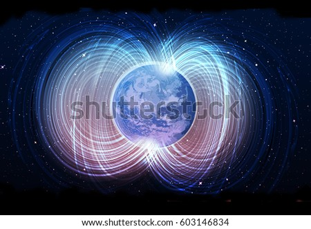Stock Photo Globe Magnetic field
