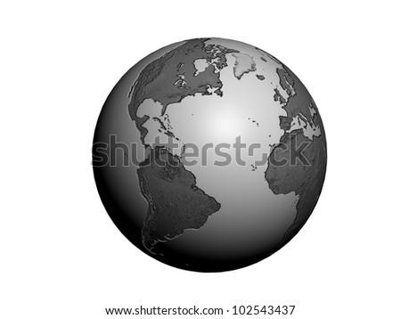 globe metal earth 3d render