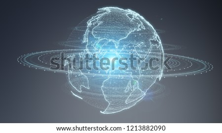 Globe network hologram with America Usa map on blue gre background 3D rendering