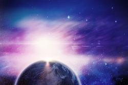Globe of earth against splashing of dust powder
