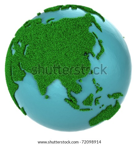 Globe of grass and water, Asia part, isolated on white background