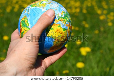globe of planet earth in man hand #14790205