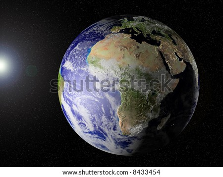 Globe of planet Earth, view on Africa. CG image with elevation, shadows/highlights and city lights on (see especially Europe and the East of South Africa.!!, very unique image.)