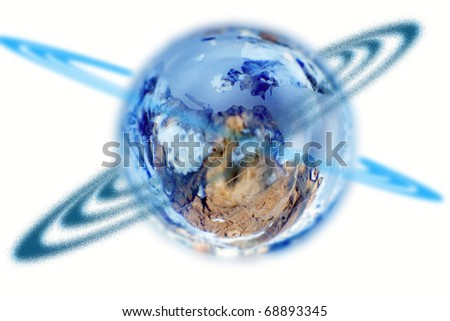 Globe on a white background and round it a ring of dark blue color