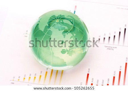 Globe on business document