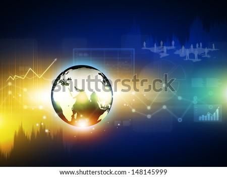 Globe on digital technology background