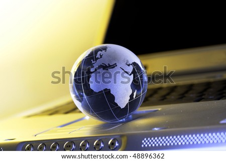 Globe on laptop