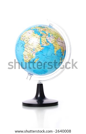 Globe on white background with reflection