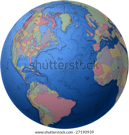 Globe Over Atlantic Ocean - Atlas Style With Terrain In The Ocean ...