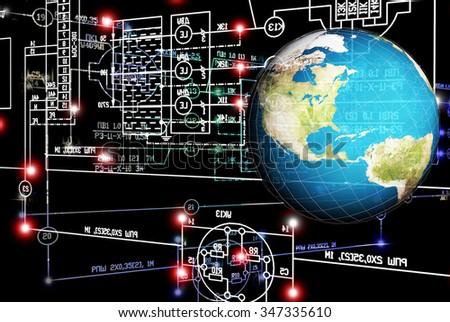 globe planet,industrial engineering scheme on black background.Engineering industrial electrical technology