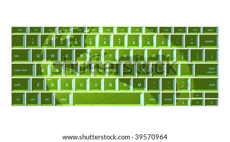 Globe projected onto green keyboard