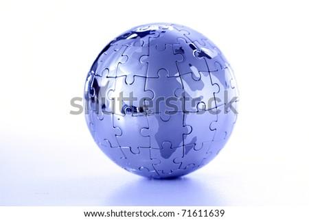 globe puzzle on white