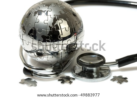 Globe puzzle on white background. Medical concept.