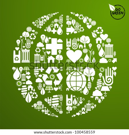Globe shape in green icons set background.